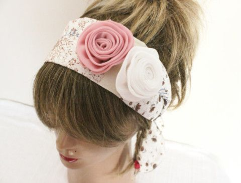 Rose Hair band, Hippie Hair band, Handmade headband, Ethnic fabric headband, Pink white roses hair band, Plaid headband
