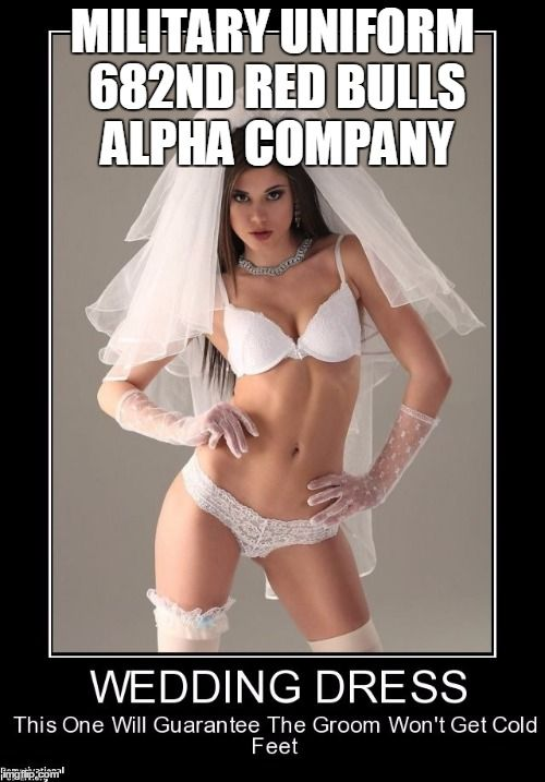 91125fa835e98fc10c7d5d0272bbf2f1 white lingerie sexy lingerie military uniform 682nd red bulls alpha company image tagged in,Meme Bridal