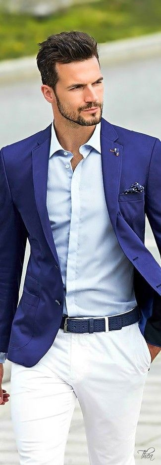 Choose a blue blazer and white chinos if you're going for a neat, stylish look.