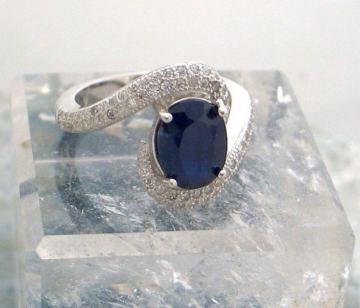 Sz 6, Genuine Dark Blue SAPPHIRE Oval and WHITE TOPAZ Gemstone, 925 Solid Sterling Silver, Engagement, Fashion Ring Fine Jewellery. by AmeogemPreciousJewel on Etsy