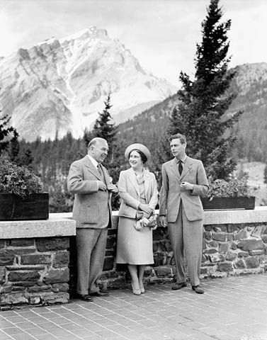 William Lyon Mackenzie King (left), Prime Minister of Canada from October 23rd, 1935 – November 15th, 1948. In his three separate terms as PM, King served for over 21 years (the longest-serving Canadian Prime Minister). This photo was taken on May 27th, 1939 with King George VI and Princess Elizabeth (later Queen) at Banff Springs, shortly before the war. Canada entered WWII on September 10th, 1939, seven days after Britain declared war…