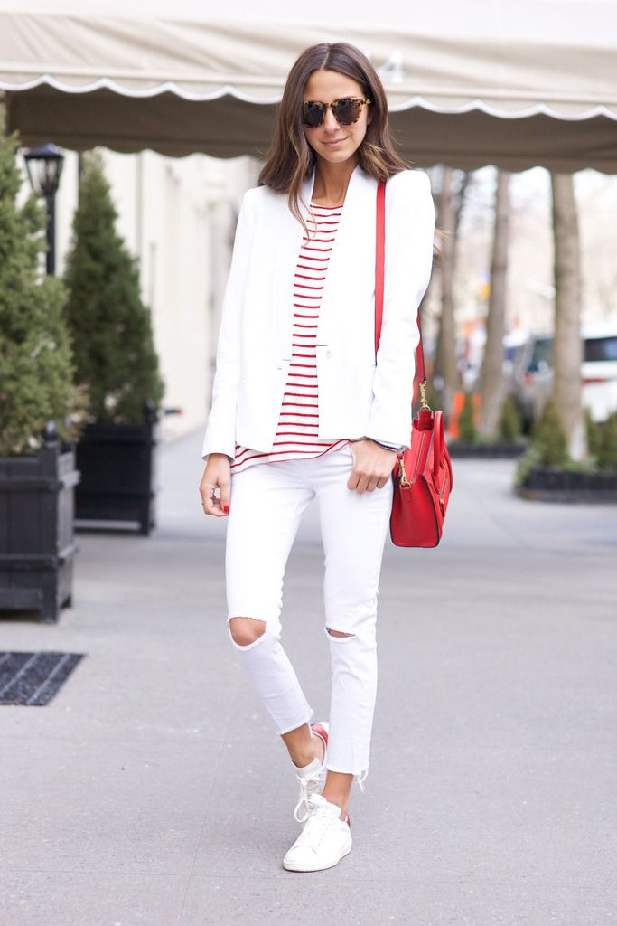 White Ripped Jeans, Red and White Adidas
