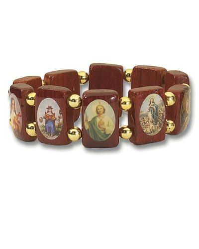 Saints Wood Bracelet with Gold Color Beads - Large Squares - Made in Brazil Religious Gallery. $3.99. Assorted Catholic images. Wood Bracelet. Save 33% Off!