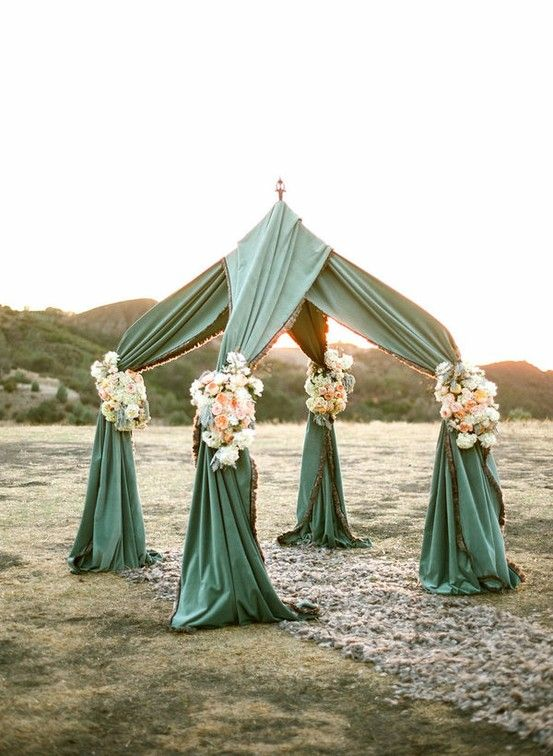 Small beach or back yard wedding inspiration. get a small tent frame and drape a fabric of your choice across then dress up with flowers. (maybe we could incorporate something like this for arch)?