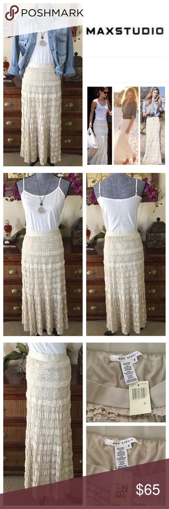 "Max Studio Lace Maxi Skirt.  NWT. Max Studio Lace Maxi Skirt, 50% cotton, 45% nylon, 5% spandex, machine washable, 28"" elasticized waistband which stretches up to 32"", 34"" length, tiered lace maxi skirt in Sand color, attached lining, measurements are approx.  NO TRADES Free People Skirts Maxi"