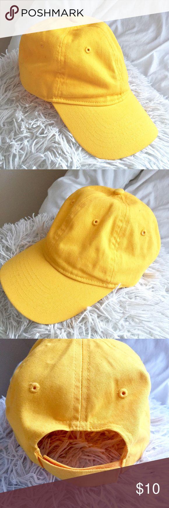 Bright Yellow Plain Baseball Cap More of a golden banana yellow. Never been worn Accessories Hats