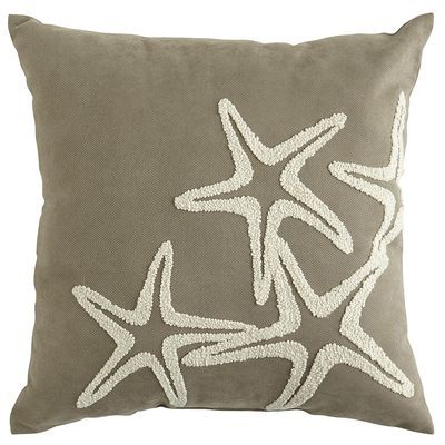 """Embroidered Starfish PIllow @ Pier One: """"Add a luxe touch to poolside or patio furniture with our newest collection of UV-treated outdoor pillows. Channeling an oceanic vibe, this gray style features an embroidered starfish design in a contrasting shade of shell white. The look is obviously indigenous to any well-decorated garden or yard."""""""