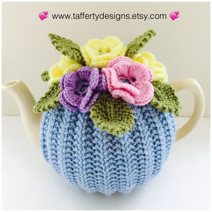 Pastels...they are back in stock! https://www.etsy.com/uk/listing/475095150/hand-knitted-pure-wool-floral-tea-cosy