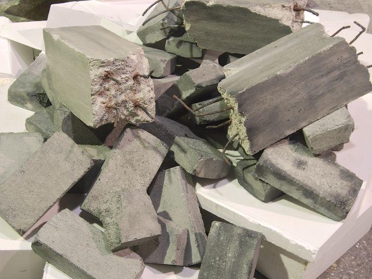 Fake concrete props, faux stone slabs blocks movie theatre