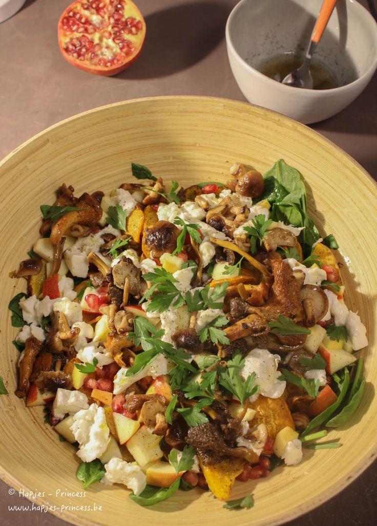 herfstsalade met zoete aardappel, geitenkaas en granaatappel-1