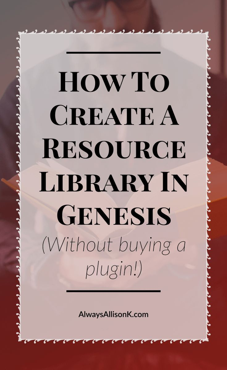 Resource libraries are perfect opt in incentives for your readers. Genesis makes it incredibly easy for every blogger or small business to offer a resource library to their readers. Click through to the tutorial that teaches you how to create a resource library in Genesis without having to buy a plugin!