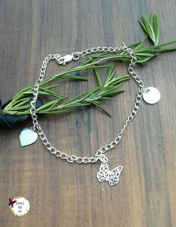Sterling Silver Ankle Bracelet Butterfly Anklet Hand Stamped
