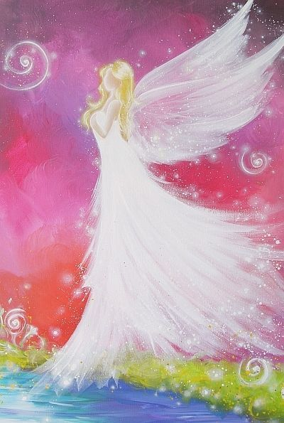 """Angel (400x595) I pinned one already but it was from etsy (this is from ebay).  I believe the coloring was dull on the other, but this one has fairly strong colors. ;) - limitiertes Engel Bild Poster """"Engelberührung"""" Engelbild Foto 40x60cm in 