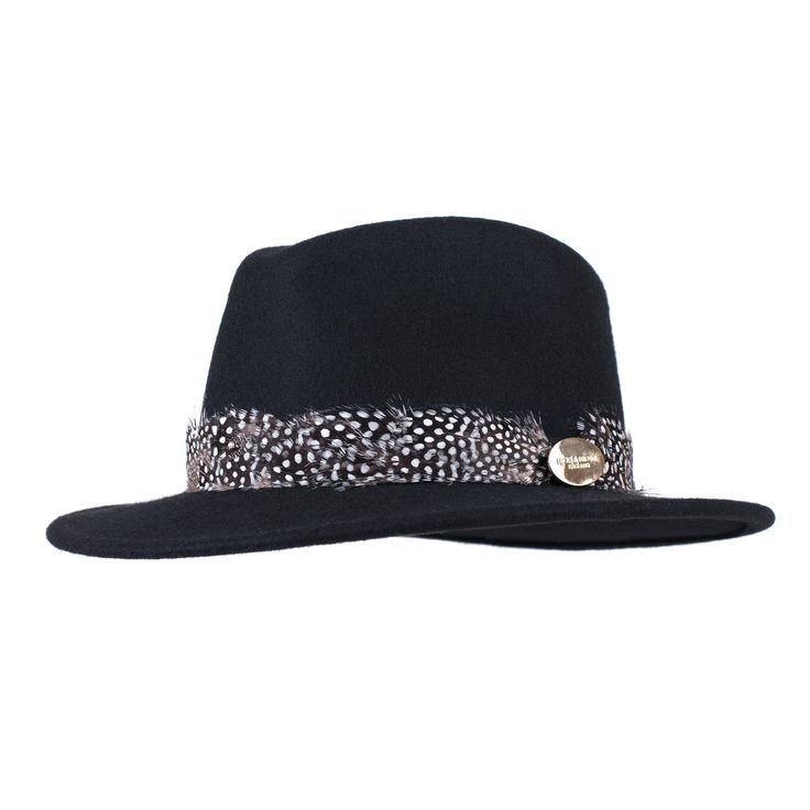 The Suffolk Fedora in Black (Guinea Feather Wrap)