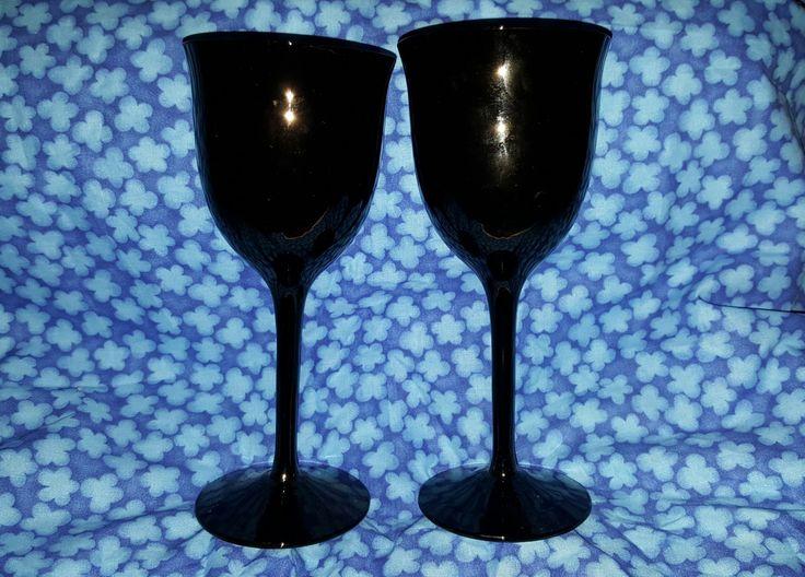 A Set of Tall Long Stem Black Amethyst Wine Goblets Wine Glasses by 2BEB on Etsy