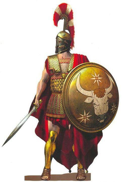 Greek hoplites warrior with a Corinthian style helmet.