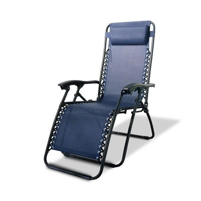 Sturdy Reclining Outdoor Chair in Blue - Zero Gravity Chair  | eBay  This Sturdy Reclining Outdoor Chair is the ideal chair for both indoor and outdoor relaxation. This durable seat is equipped with an adjustable headrest and long lasting outdoor fabric