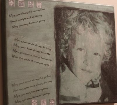 """So cool!  Transfer photo to canvas. Project used photos of her kids and lyrics to """"Forever Young"""".  Not the same as Mod-Podge-ing picture onto canvas - this is actually a transfer of the image."""