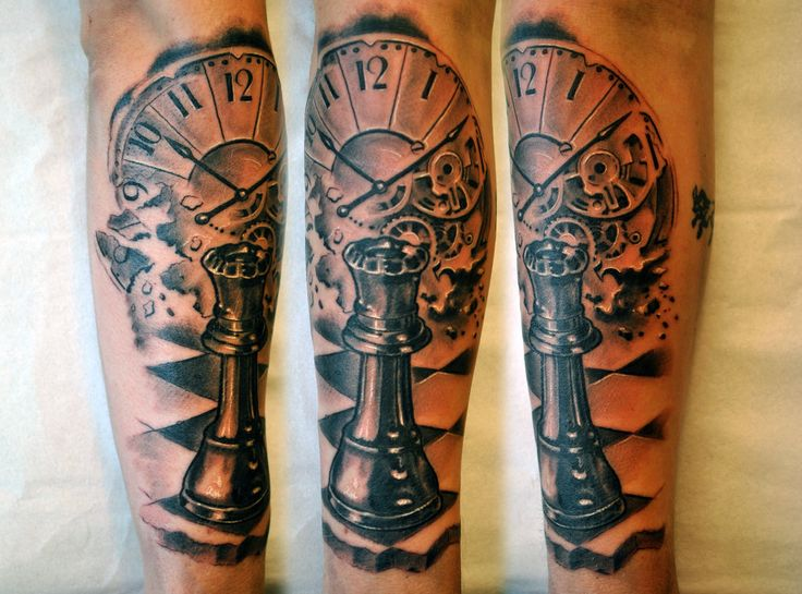 Chess tattoo make the clock have the aniversay date on it