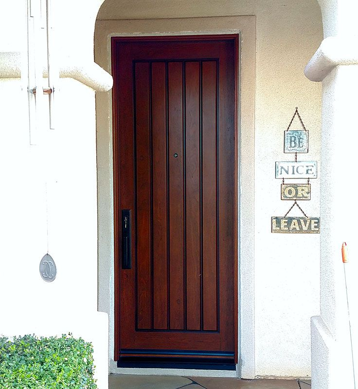 Jeld-Wen 8 foot Knotty Alder textured fiberglass in Chappo Antiqued stain. Installed in & 23 best 8 foot Tall Doors images on Pinterest | Entrance doors ...