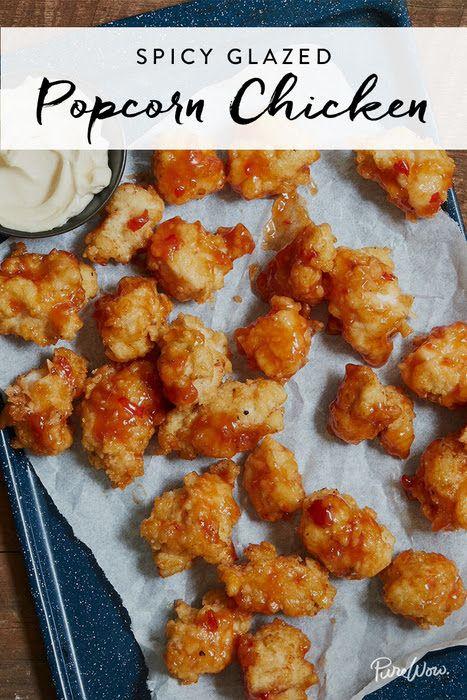 Spicy Glazed Popcorn Chicken via @PureWow via @PureWow