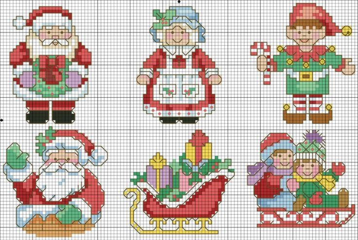 Assorted Christmas cross stitch charts
