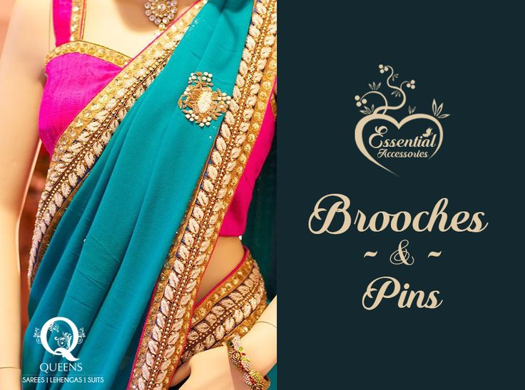 To hold the pallu in place, shoulder brooch pins are available in a variety of designs, as are pleat clips that help organise the pleats.  #QueensEmporium #EssentialAccessories #Sarees