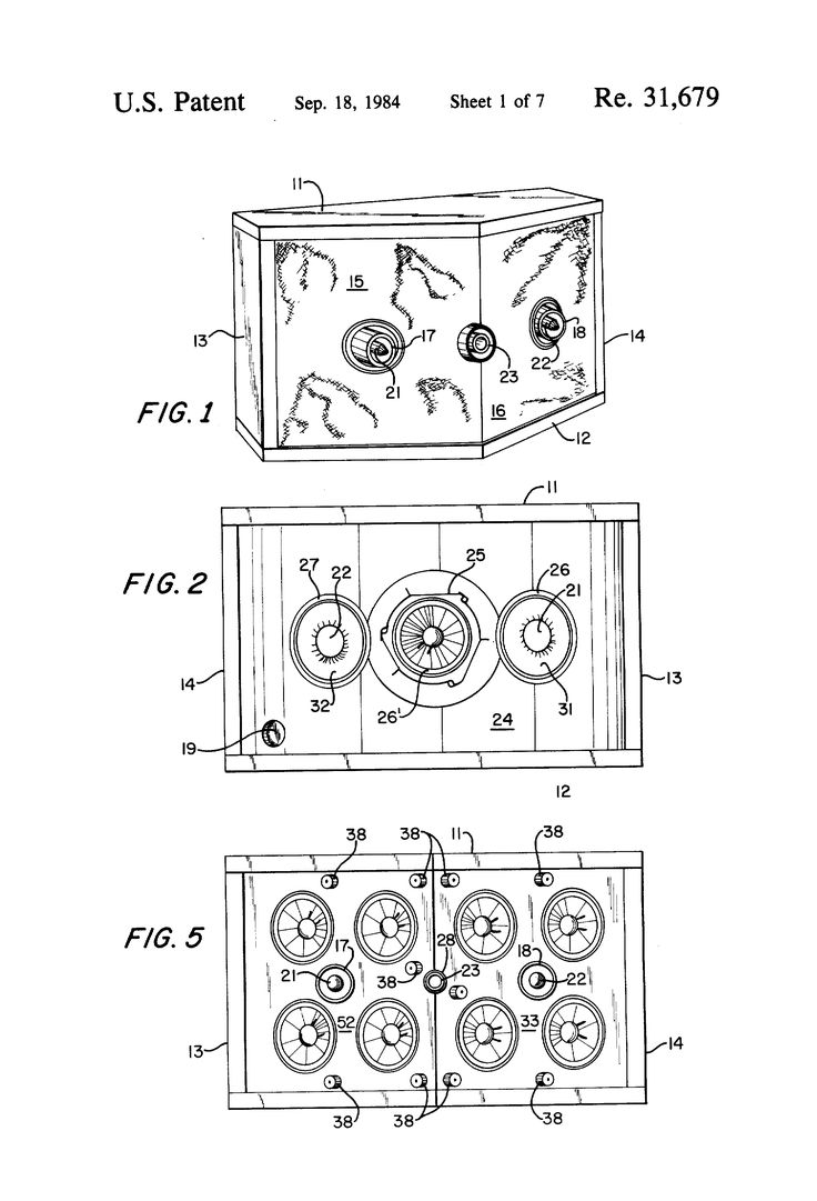 Patent USRE31679 - Loudspeaker enclosure with acoustical compliance resonating with port mass at frequency below system resonance