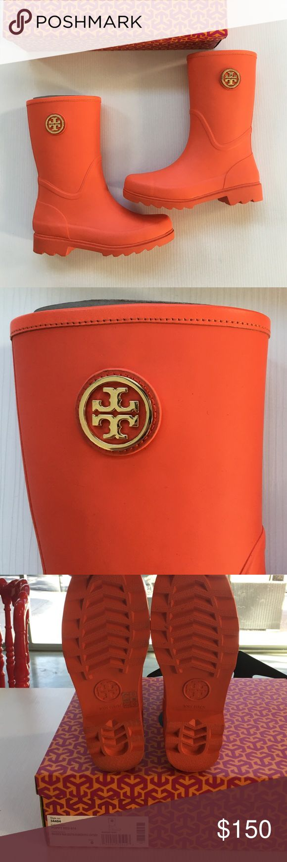Tory Burch Rain Boots Brand new with tags absolutely adorable Tory Burch Rain boots!! Classic matte orange boot finished with gold logo details.. absolutely never worn they still have all the packaging. Comes with box. Tory Burch Shoes Winter & Rain Boots