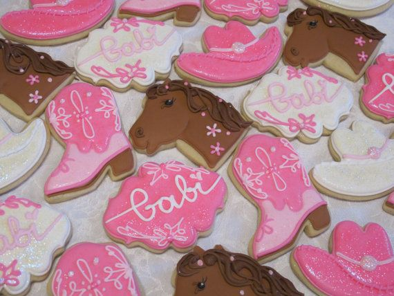 Cowboy Cowgirl Cookies Western Rodeo Birthday Party by MartaIngros