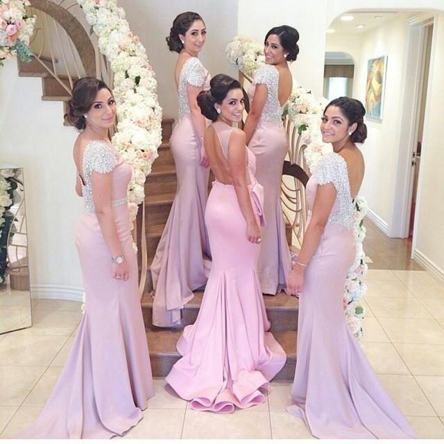 Cerise Pink Bridesmaid Dresses Pink 2015 Bridesmaid Dresses Sparking Beading Cap Sleeve Backless Mermaid Floor Length Maid Of Honor Dresses Dhyz 01 Polka Dot Bridesmaid Dresses From Hua_yi_zhang, $115.19| Dhgate.Com