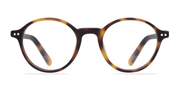 These matte tortoise eyeglasses are exquisitely classical. This vintage inspired style features perfectly rounded lenses surrounded by lustrous semi-transparent tortoiseshell acetate frame. Double stud accents in the frame corners complete this intelligent look that is suitable for both men and women. @EyeBuyDirect