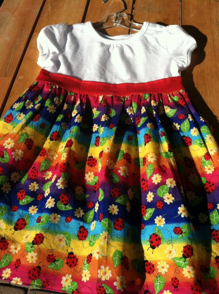 Lady Bugs & Daisies, Multi Colored T-Shirt Dress by CreativeCreationsDeb on Etsy