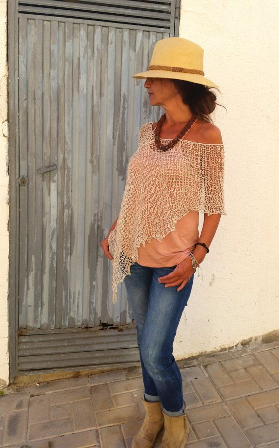 Cotton wrap, lace summer cover up, hand knitted cream linen por EstherTg en Etsy