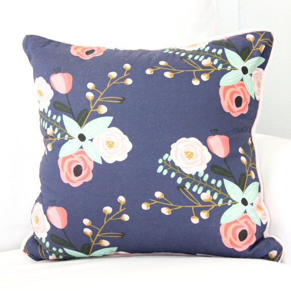 Berkeley's Blush and Navy Floral Accent Square Pillow | Watercolor, Pink, Floral, and Mint Girl Baby Glider Pillow | Floral Crib Bedding