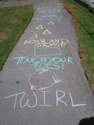 Sidewalk chalk game for kids - could adapt for outside music lesson