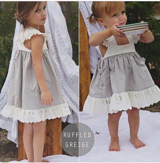 Aunt Heart Dress Ruffled Greige, 3t