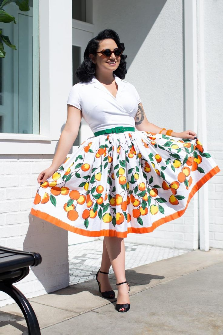 Pinup Couture Edie Dress with Short Sleeves in Orange Border Print | Pinup Girl Clothing