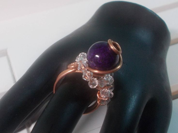 Purple Fossil Stone Copper Wire Wrapped Ring - Asymmetrical - Unique Fashion Asymmetric Design Purple Stone Ring Handmade by UnikButikJewelry on Etsy