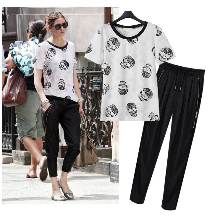 2015 Brand O Neck Skull Printing Hole T Shirt and Chiffon Pants Women Set 2 Pieces Summer Casual Suit Sets Puls Size 5XL Y0147
