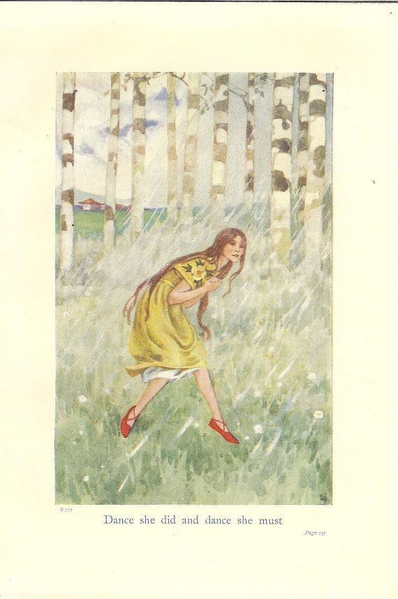 Vintage The Red Shoes Childrens Fairy Tale Print 1940s Girl ...