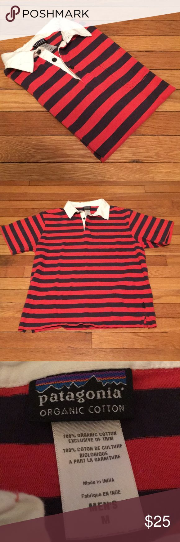 MEN'S PATAGONIA STRIPED POLO SHIRT Size: Medium, orange and navy-colored Patagonia Organic Cotton polo shirt with white collar, shirt pocket, and Patagonia tag on left side of shirt.  In great condition!!  Serious inquiries no lowballing.  Tags: patagonia, synchilla, organic cotton, nike, columbia, the north face, gortex, supreme Patagonia Shirts Polos