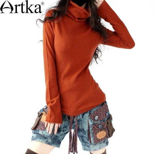 Artka Women's Super Soft Pure Cashmere Turtleneck Pullover Sweater Color Reddish Brown C02595  D44 - 259