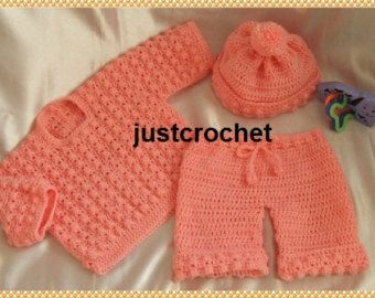 Sweater, Bobble hat and Bloomers Baby Crochet Pattern (DOWNLOAD) 12