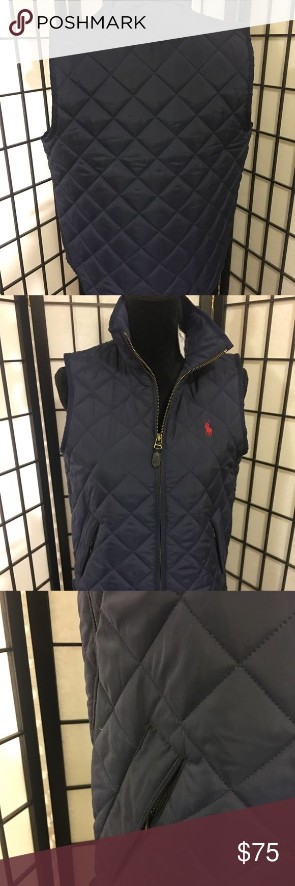 """NWT Polo Ralph Lauren women's Navy Quilted Vest MEDIUM  Polo Ralph Lauren Zip up quilted vest with pony logo.  Brand new never worn. Original tags  •Width 19 1/2 •Length 25"""" •Two side zip pockets •Polo leather logo on front zipper Have questions?? Please ask! Polo by Ralph Lauren Jackets & Coats Vests"""
