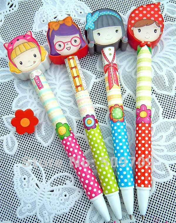 Aliexpress.com : Buy Free Shipping 36 pcs/lot Lovely Pretty Girls Ball Pen / Korean Style Ball Pen / Creative Cartoon Stationary Wholesale from Reliable ball pen suppliers on GuLuGuLu Store