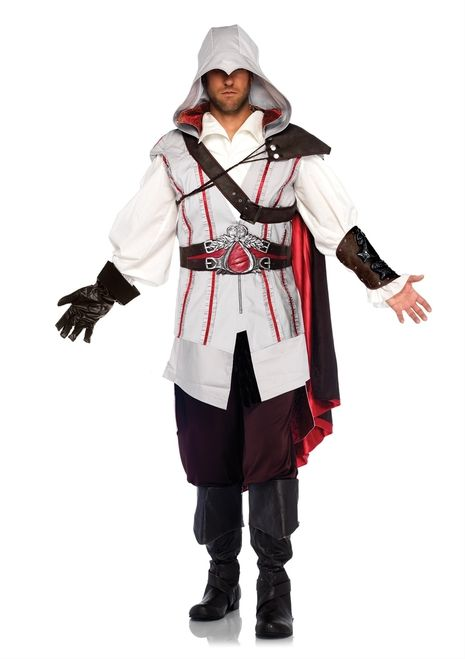 Men's Licensed Assassin's Creed Ezio Costume - Find the apple of eden this Halloween with this stunning licensed Assassin's Creed Ezio Costume. This incredible 8-piece Ezio costume includes a shirt, hooded vest, cummerbund, belt, cape, arm cuff and glove. The shirt is a puffy white button-down with flared sleeves. #yyc #costume #scifi