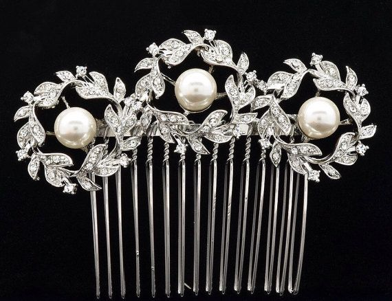 Bridal comb Floral Bridal Hair Comb Wedding Hair brooch by Zubh