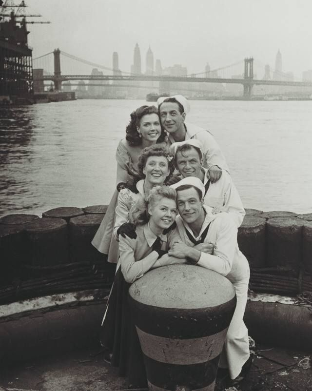 Ann Miller, Jules Munshin, Betty Garrett, Frank Sinatra, Vera-Ellen & Gene Kelly for On The Town (1949)