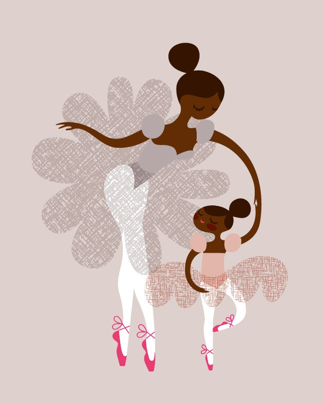 ballerina mother and daughter / sisters giclee print // the paper nut on etsy